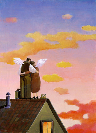 sweetness: an elderly couple on the roof nostalgic look into the sunset, have a pair of wings in two suitcases and ready to go
