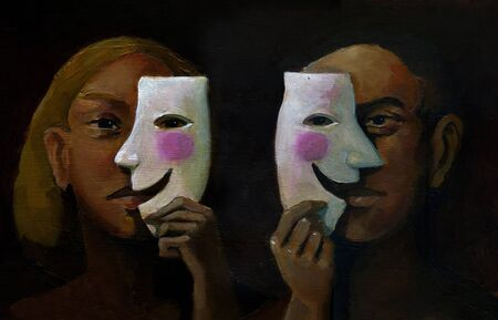 resentment: A man and a woman in the foreground hide their feelings behind a smiling mask Stock Photo