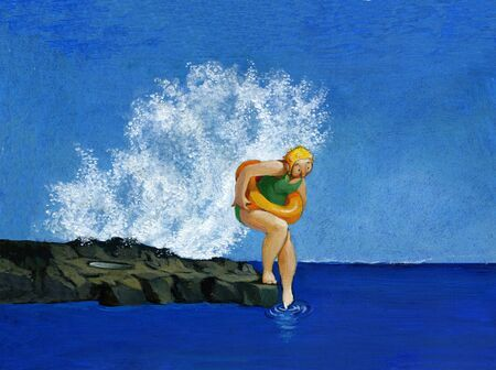 hesitate: a girl is undecided whether to dive into the sea, a wave behind him is going to push her