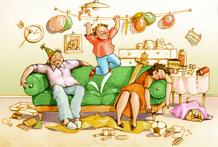 satire: After a birthday party two shocked parents are sitting on a couch while son jumps full of energy