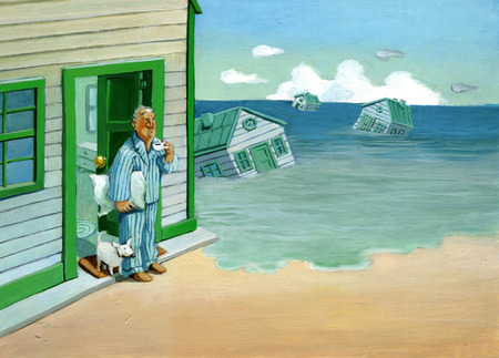 tide: awakening a doorway man sees the houses around him taken away by high tide Stock Photo