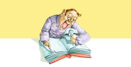 suspenso: un hombre armado con dos horquillas comer vorazmente un libro