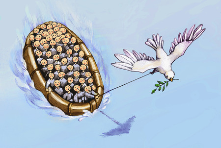 peace risk: refugees on a boat driven by the dove of peace