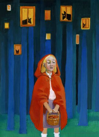 vulnerable: Red Riding Hood in a forest that becomes a city with the wolves behind the windows Stock Photo