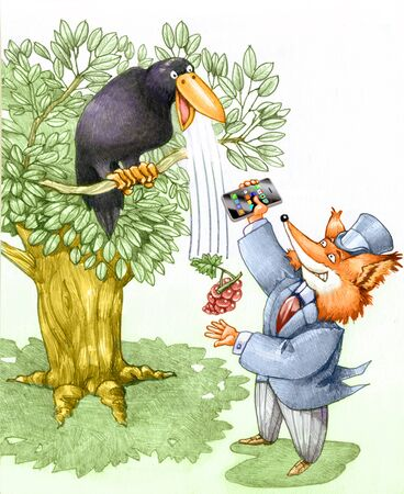 satire: a fox tries a crow with a smartphone and manage to get the grapes Stock Photo