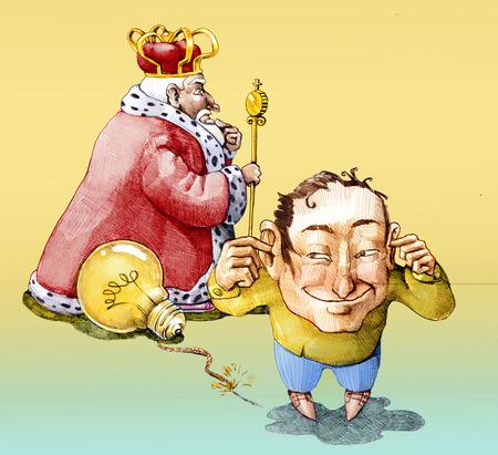 un homme utilise une ampoule comme une bombe pour faire sauter un roi Banque d'images