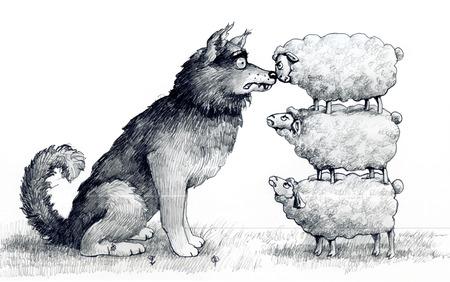 schapen op elkaar op de hoogte van een wolf en schrikken