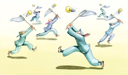 satire: men chasing bulbs with screens from butterflies Stock Photo