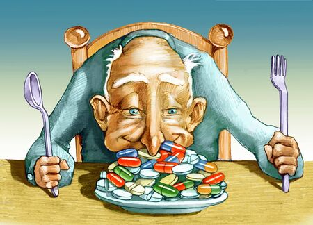 an elder has a plate full of pills and dives nose ecstatically Stock Photo