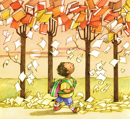 child walking: a child walking towards the school and the trees loaded with books pages as if they were falling leaves in autumn