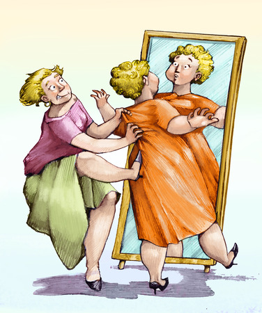 satire: a saleswoman slyly convinces a lady to buy a dress too wide