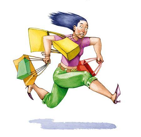 compras compulsivas: una mujer llena de bolsas de aire se ejecuta con espíritu Foto de archivo