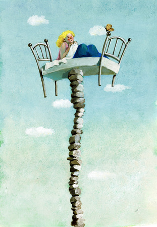 archetypal: a girl curled up in her bed which is suspended on a precarious tower of stones she looks scared a butterfly hoping not to lose balance