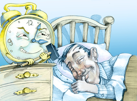 a peaceful man sleeps while an alarm clock with a hammer in his hand is ready to strike