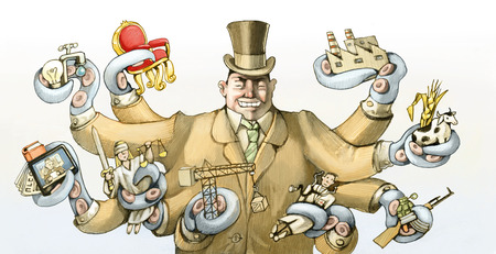 satire: a capitalist rich wraps its tentacles so many sectors of society Stock Photo