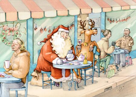break in: Santa Claus and his reindeer make a break in the bistro in the midst of normal people