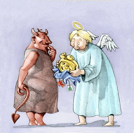 suspicion: a mischievous little devil gives an alarm to a baffled angel Stock Photo