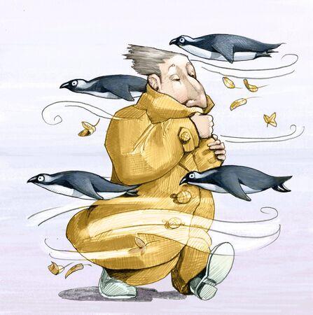 bundled: a man bundled up in coat walking in the wind while flying penguin,