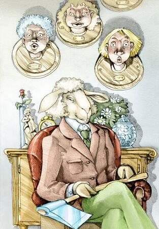 A stylish man sitting in a chair with her face in sheep is actually a murderess of women for this in her lap an ax Stock Photo