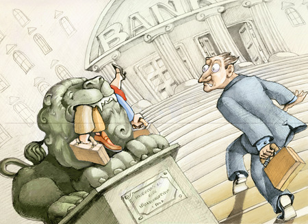 a small investor is entering a bank and see the stone lion at the entrance into the maw those who arrived before him Stock Photo