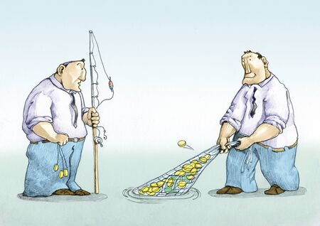 millions: a man with a fishing rod collects a few dimes a man with a fishing net collects millions Stock Photo