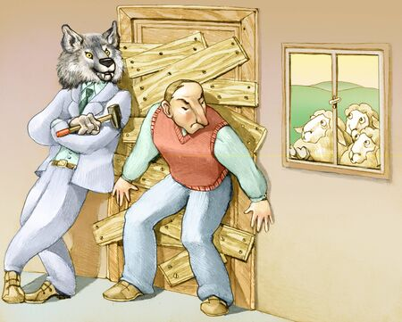 barring: a man thinks that the danger is out and closes at home barring the door with the help of a big bad wolf