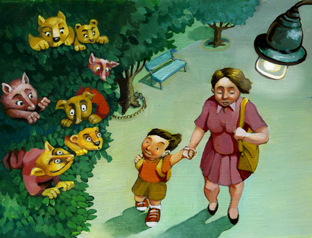 feelings and emotions: an evening stroll mom and son and the son sees in the foliage of trees fantasy characters Stock Photo