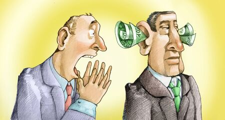 impotence: Man cries out to another who does not hear him because he has the ears full of banknotes