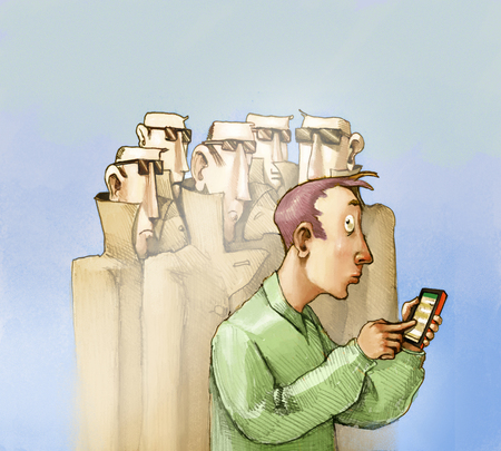 online privacy: A worried man uses his cell phone and you feel surrounded by secret agents