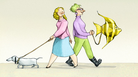 a classic woman leads to walk the dog an eccentric woman leads to walk a fish Imagens