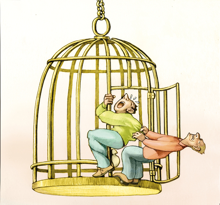 Man remains clinging to a bird cage while another tries to pull him towards freedom