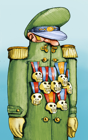 general: A general has many skull-shaped medals