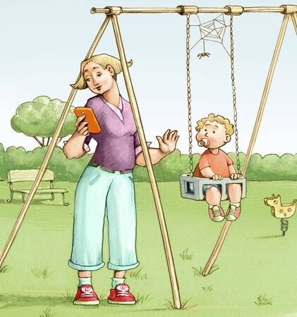 a mom at the park with her son on the swing forgets to push him because she is distracted by the cellphone