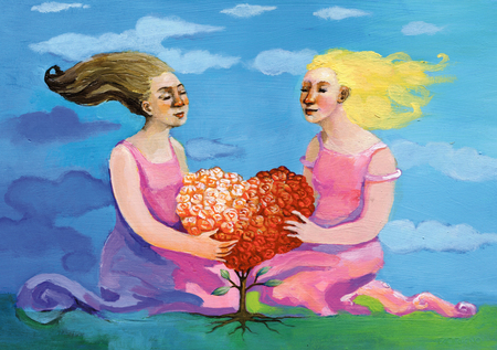 Two women embrace a heart-shaped plant made of roses