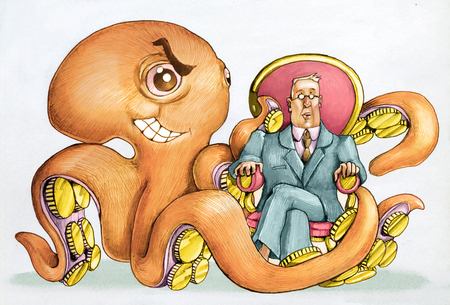 A rain with coins in the tentacles wraps an attentive politician sitting on his armchair Stock Photo