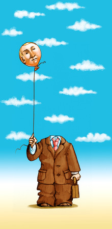 A man holds his head hanging on a wire like a balloon