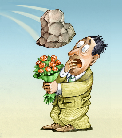 heaviness: a man holding a bunch of flowers to win a woman, he sees pulling a heart made of stone