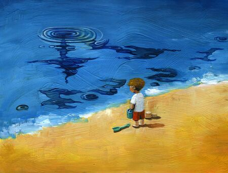 child see a clock on the waves