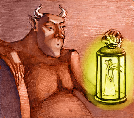the devil holds a lantern with an angel in his hand Stock Photo