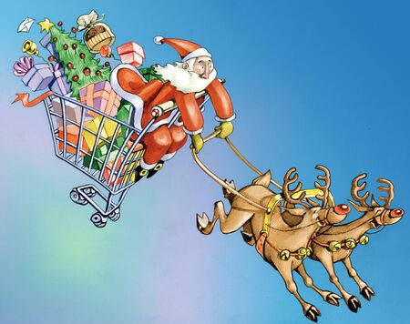 Santa Claus dragged in purchases inside a shopping cart by two crazy reindeer Stock Photo