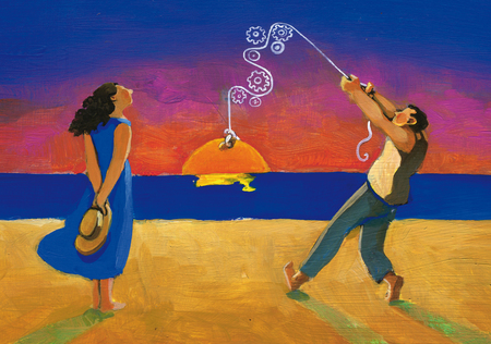 man courts woman staging a romantic sunset surreal painting Stock Photo