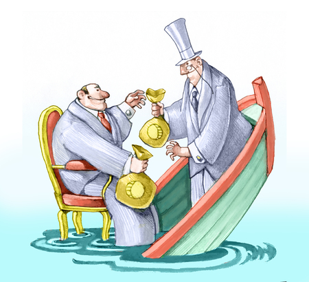 political and banker they exchange money in a boat that sinks without worrying Stock Photo