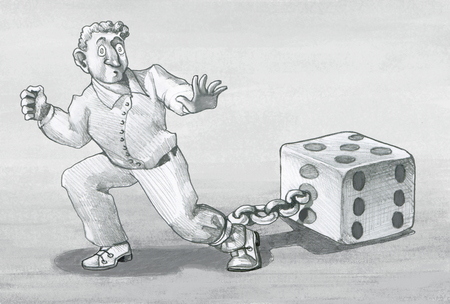 chained man to die tries to escape allegory pencil illustration