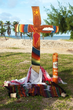 Cross of brazilian basic communities on the beach