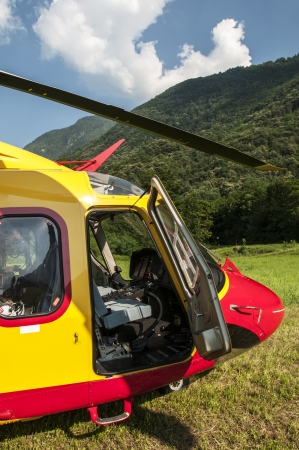 Alpine emergency helicopter rescue, Italy photo