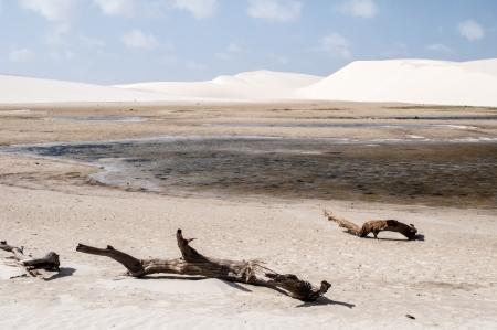 atilde: White sand dunes of the Lencois Maranheses National Park in Brazil.