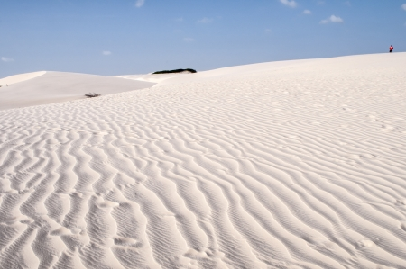 White sand dunes of the Lencois Maranheses National Park in Brazil.  photo
