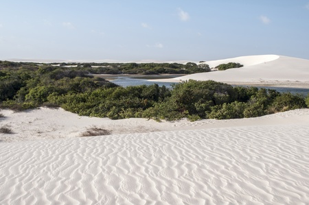 White sand dunes of the Lencois Maranheses National Park in Brazil.