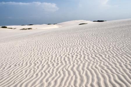 White sand dunes of the Lencois Maranheses National Park in Brazil.