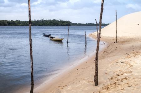 Sand dunes of the Lencois Maranheses National Park in Brazil.  Фото со стока